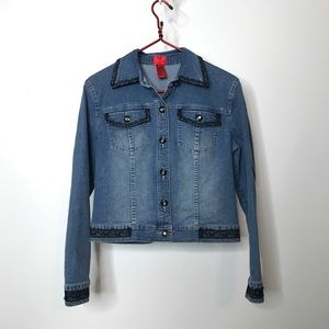 V Christina Denim Jacket Size Small Embellished